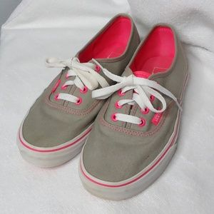 72a1a7963f3eef Vans. Vans Gray and Hot Pink Lace Up Sneakers